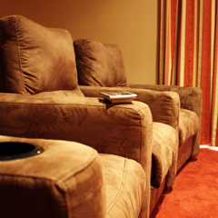 Custom designed, luxury cinema seating